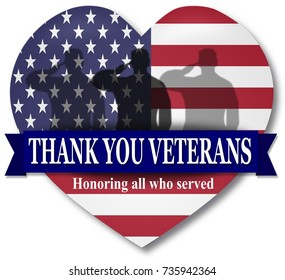 Thank YOU Veterans day. Illustration Banner heart with USA flag and ribbon