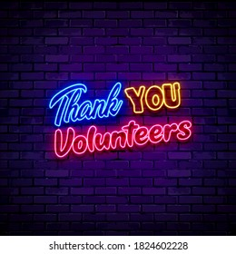 Thank you volunteers lettering sign neon 3D illustration