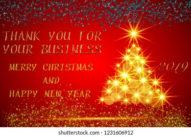 Thank you for your business illustration Christmas card