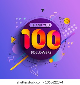 Thanks for the first 100 followers. Thank you followers congratulation card. Illustration for Social Networks. Web user or blogger celebrates and tweets a large number of subscribers. Raster copy