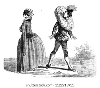 Thanks to the Strawberry, the bad subjects were very caught when they returned the head to look at the Ladies, vintage engraved illustration. From The Tortures of Fashion.