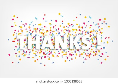 thanks, thank you card with colorful confetti  -
