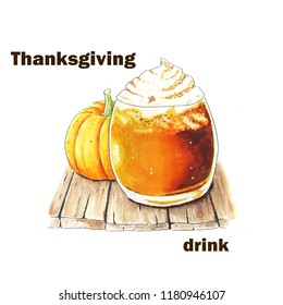 Thanksgiving background with hand sketched pumpkin latte