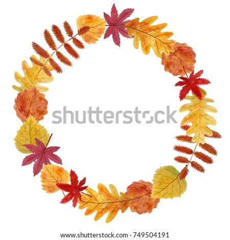 Thanksgiving Card Blank Template With Autumn Leaves Wreath Hand Painted With Watercolors