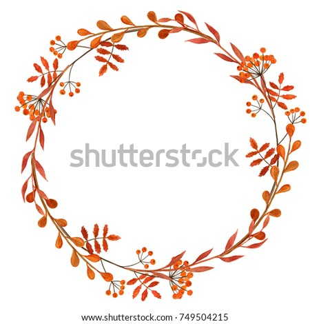 Thanksgiving Card Blank Template With Autumn Branches And Berries Wreath Hand Painted With Watercolors