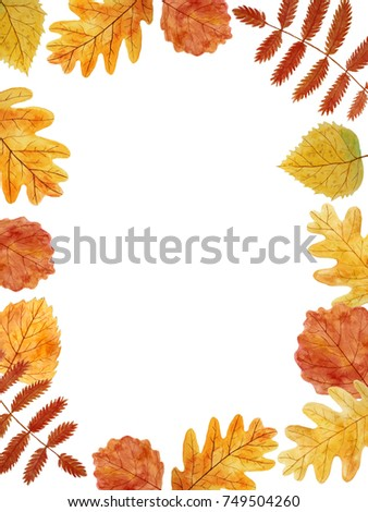 Thanksgiving Card Blank Template Autumn Leaves Hand Painted With Watercolors