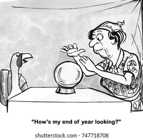 Thanksgiving cartoon with a turkey asking a fortune teller how his 'year end' is looking.