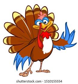 Thanksgiving Cartoon Turkey Bird. Illustration of funny turkey character clipart