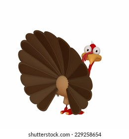 A Thanksgiving cartoon Turkey looking back over his shoulder.