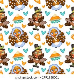 Thanksgiving day seamless pattern. Cute cartoon pilgrim turkey and pumpkin pie seamless pattern.