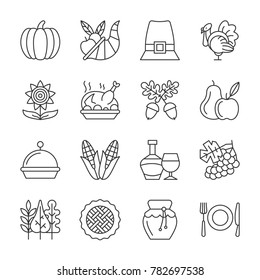 Thanksgiving day thin line icon set. linear symbol pack. Outline sign without fill. Simple pictogram graphic collection. Logo, web design, infographic, business style concept