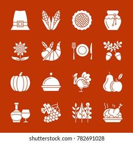 Thanksgiving day white silhouette icon set. Monochrome flat design symbol collection. Pumpkin, cornucopia, turkey, vegetables, holiday symbol. Harvest season sign. illustration