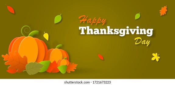 Cartel del día de Acción de Gracias con texto de felicitación y calabaza. El otoño sale sobre un fondo verde oscuro. Diseño otoñal para el afiche de la temporada de otoño, ilustración de la tarjeta de felicitación de agradecimiento