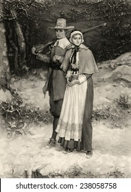 Thanksgiving, print showing a Puritan husband and wife walking through snow on their way to church, he carrying a gun, she a bible or prayer book, by George Henry Boughton, 1885.