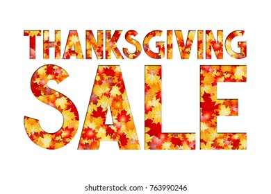 Thanksgiving sale illustration with Fall/ Autumn leaves