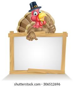 Thanksgiving sign with cartoon turkey bird wearing a pilgrim or puritan thanksgiving hat