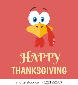 Thanksgiving Turkey Bird Face Cartoon Character Flat Label. Raster Illustration Background With Text