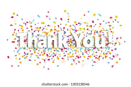 thanky you sign , text and confetti