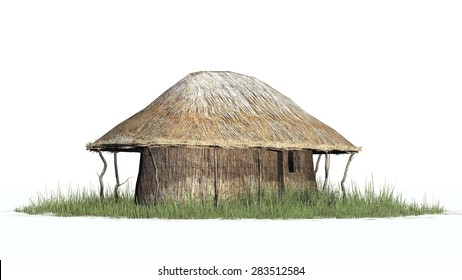 thatch hut - isolated on white background