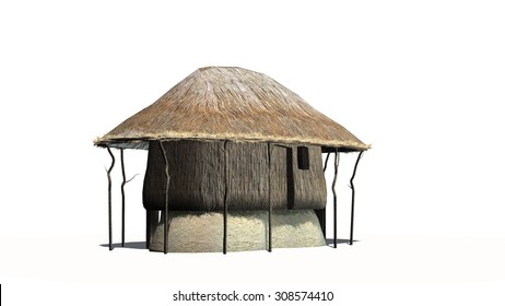 thatched hut - isolated on white background