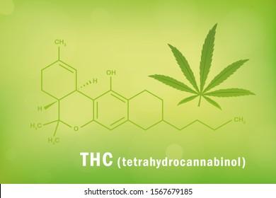 thc tetrahydrocannabinol chemical formula with cannabis leaf  illustration