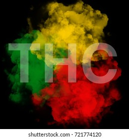 THC text on green yellow red smoke background,reggae background