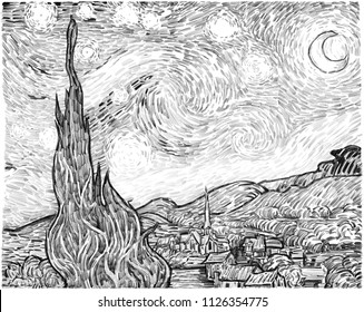 """""""The Starry Night"""" Drawing / Art in the style of Post-Impressionism. Free interpretation of Vincent Van Gogh's famous painting in a new reproduction. pencil on paper."""