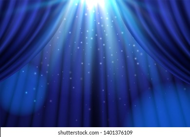 Theater blue curtain with lights as show, presentation banner. Sign for casino or bar, movie or cinema premier, entertainment concert or circus advertisement placard, nightclub celebration cover