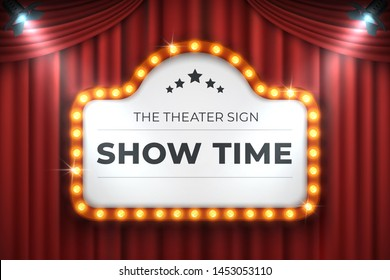 Theater cinema sign. Movie light frame, retro marquee banner on red background.  light bulb realistic 3D billboard