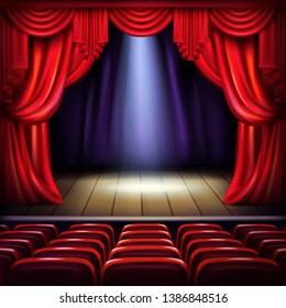 Theater or concert hall stage with opened red curtains, spotlight beam spot in center and empty visitors seats realistic illustration. Music concert, theatrical performance or premiere concept