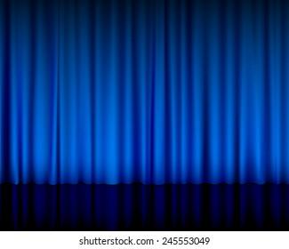 theater curtain blue illustration.