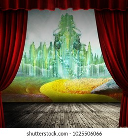 Theater curtain and stage with yellow brick road curtain