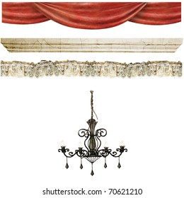 Theater curtains, lace and chandelier