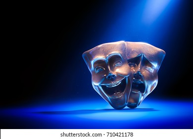 Theater masks, drama and comedy on a dark background / 3D Rendering