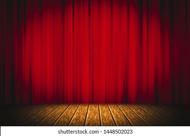Theater red curtain on stage wooden floor entertainment background, Red curtain.