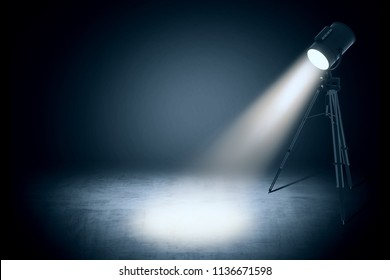 theater spot light on black curtain with smoke effect in empty studio. 3d rendering