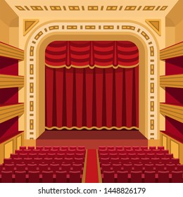 Theater stage with curtains entertainment spotlights theatrical scene interior old opera performance background illustration.