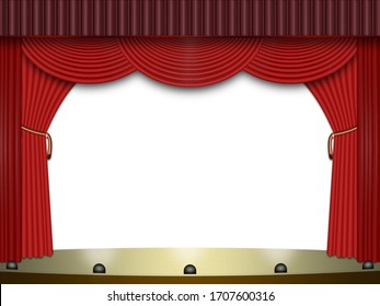A theater stage with red curtains. 3 d-Illustration