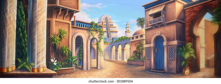 Theatre backdrop featuring a scene of ancient Babylon