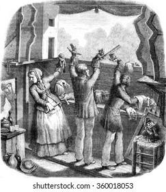 Theatre Guignol, vintage engraved illustration. Magasin Pittoresque 1870.
