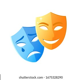 Theatre mask crying and smiling, emotion icons on white, character objects sad and happy, masquerade decorations laugh and disorder, pantomime raster