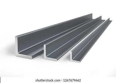 Thee steel angle bars (L-profile) of different size -  3D rendering