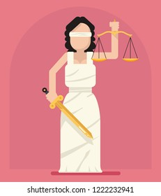 Themis Femida with scales sword symbol of law justice flat icon  illustration