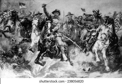 Theodore Roosevelt in a romanticized depiction leading the Rough Riders in the charge at San Juan Hill, Cuba, 1898