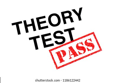 A Theory Test heading stamped with a red PASS rubber stamp.