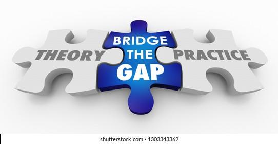 Theory Vs Practice Bridge the Gap Puzzle Pieces 3d Illustration