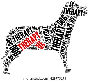 Therapy dog or animal assisted therapy concept.