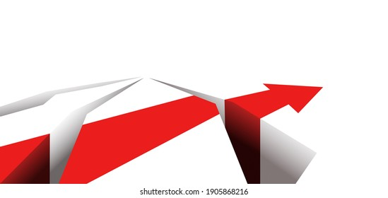 There are obstacles on the way. Red arrow. Good luck and failure in business. A symbol of a difficult path through problems. Red arrow in the cracks.