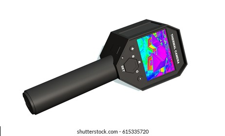 Thermal Camera with Thermographic picture on the Display - isolated on white - 3d rendering