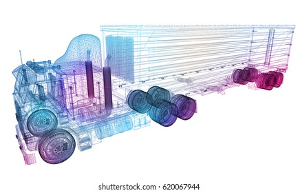 Thermal View of Transportation Truck and Container on White Background